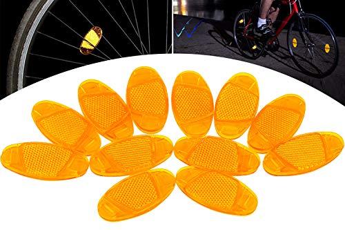 HENTEK Catarifrangenti Raggi Ruota Bici, Confezione da 12, Catarifrangenti Sicurezza per Bicicletta Decoration Sicuro attenzione, Arancione