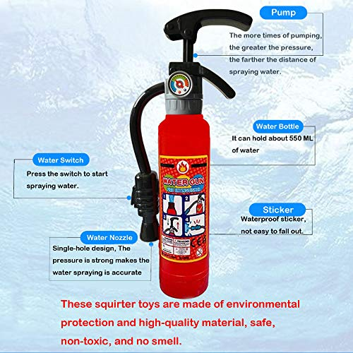 Novelty Fire Extinguisher Squirt Toys, Realistic Firefighter Water Gun Toys for Kids Boys Girls Children, Summer Fun Water Gun for Pool Beach Bath, Halloween Fireman Cosplay Favors, Pack of 2, 11""