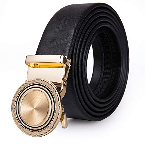 Black Leather Belt for Men, Designer Gold Leopard...