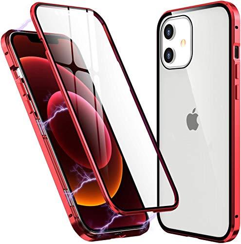Funda para iPhone 12 Mini Magnética Carcasa,iPhone 12 Mini(5.4') Funda Protectora de Cuerpo Completo 360° Cristal Templado Cover con Protector de Pantalla,Antigolpes Rugged Metal Bumper Case,Rojo
