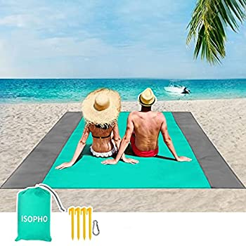 ISOPHO Beach Blanket 79  ×83   Picnic Blankets Waterproof Sandproof for 4-7 Adults Oversized Lightweight Beach Mat Portable Picnic Mat Sand Proof Mat for Travel Camping Hiking Packable w/Bag