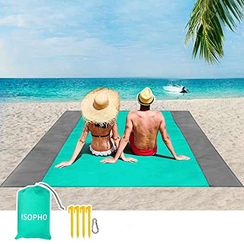 ISOPHO Beach Blanket, 79''×83'' Picnic Blankets Waterproof Sandproof for 4-7 Adults, Oversized Lightweight Beach Mat, Portable Picnic Mat, Sand Proof...