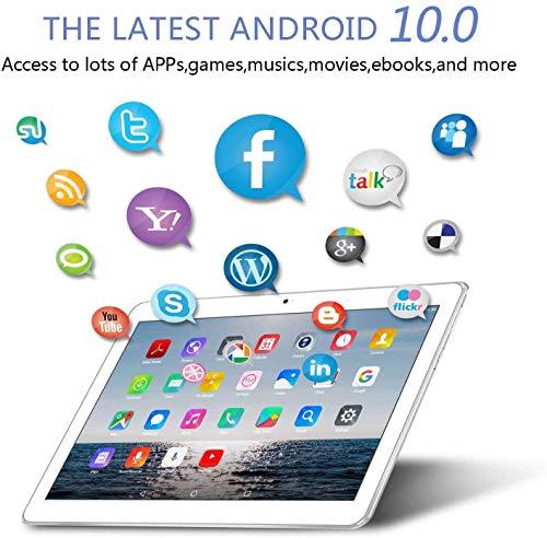 TOSCIDO 4G LTE Tablet 10 Zoll - Android 10.0,4GB RAM,64GB ROM,Octa Core,Dual SIM,WiFi,Dual Stereo Lautsprecher-Silber
