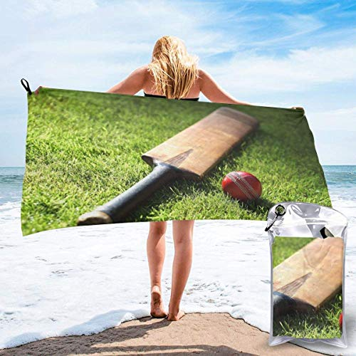 XBYC Badetuch Large Travel Microfiber Bath Towels - Swimmers Super Absorbent Lightweight Towel - Cricket Bat Quick Dry Beach Towel for Camping, Hiking and Home Use