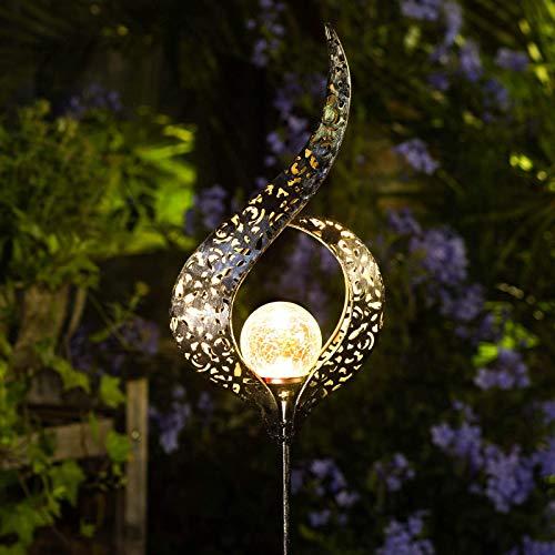 Homeimpro Outdoor Solar Lights Garden Crackle Glass Globe Stake Lights,Waterproof LED Lights for Garden,Lawn,Patio or Courtyard