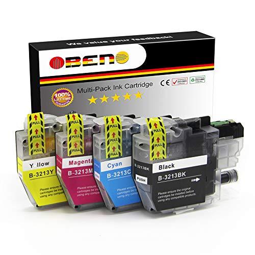 OBENO - 1 Set - LC3213 Paquete de 4 Cartuchos de Tinta Compatibles para Brother LC3211 MFC-J890DW, MFC-J895DW, DCP-J772DW, DCP-J774DW, DCP-J572DW (1 Negro, 1 Cian, 1 Magenta, 1 Amarillo)