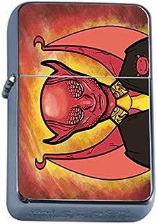 Devil Grin Flip Top Oil Lighter Em1 Smoking Cigarette Silver Case Included