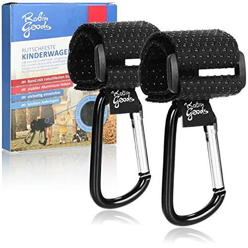 Robin Goods® 2x Kinderwagen Haken mit rutschfesten Gumminoppen für Wickeltasche - Kinderwagen Taschenhalter - Karabinerhaken Kinderwagen - Kinderwagenhaken - Taschenkarabiner