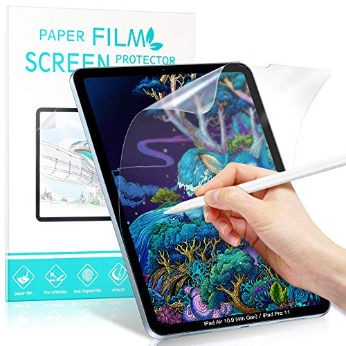 [2-Pack]Benazcap Write Like Paper Screen Protector Compatible with iPad Air 4 10.9 Inch (4th Gen), iPad Pro 11 Inch (2020&2018), Anti-Glare, Matte PET Paper Film for Writing, Drawing and Sketching