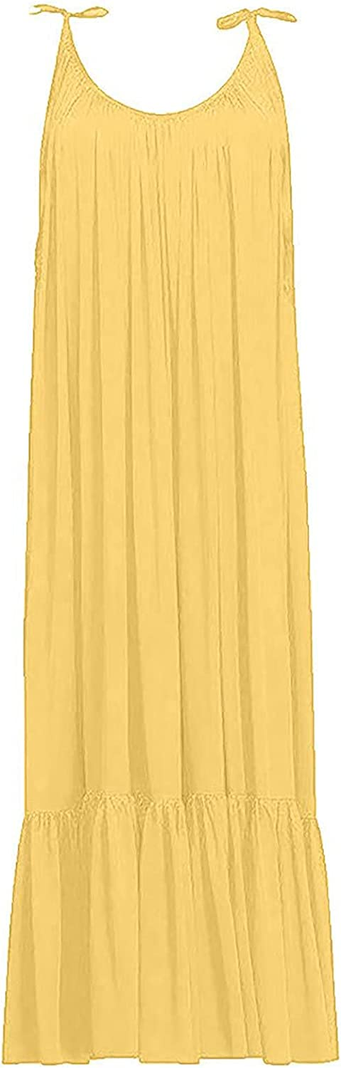 Beach Backless Maxi Dress for Women Boho Sleeveless Plus Size Casual Loose Ruffles Pleated Summer Party Long Dresses