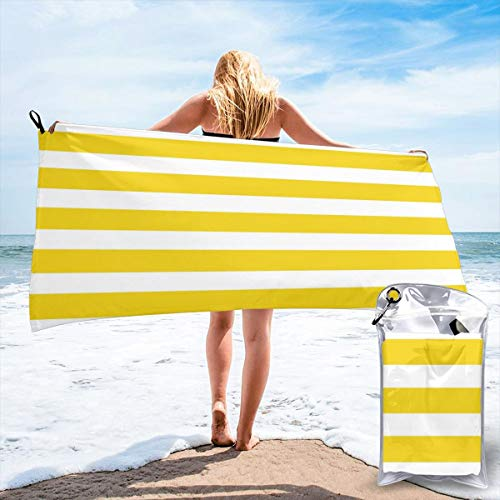 HNSENRUO Microfiber Quick Dry Beach Towel Lemon Zest Yellow Stripes Pattern Printed Lightweight Fast Drying Towels For Travel,Camping,Gym,Beach,Swimming,Yoga