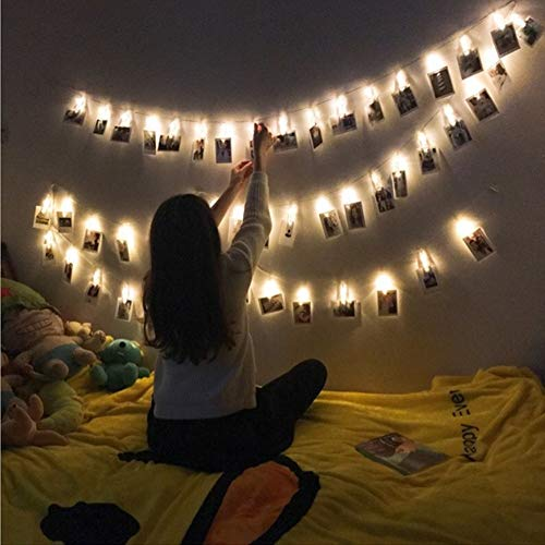 10 LEDs 1.5mter/4.9 feet Photo Clips String Lights, Fairy Lights, Hanging Photos Pictures Cards Power by Batteries, Cold White for Party Bedroom Wedding Event,2*AA Battery Powered