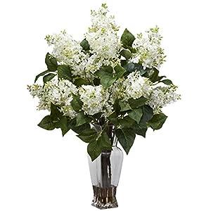 Nearly Natural Lilac Silk Flower Arrangement, White
