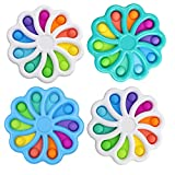 4 Pack Mini Portable Dimple Digit, Perfect for Traveling, Ultimate Value Flower dimple Fidget Toys, Durable ABS Plastic and Silicone, Flower Fidget, Dimple Fidget Toy, Assorted Colors