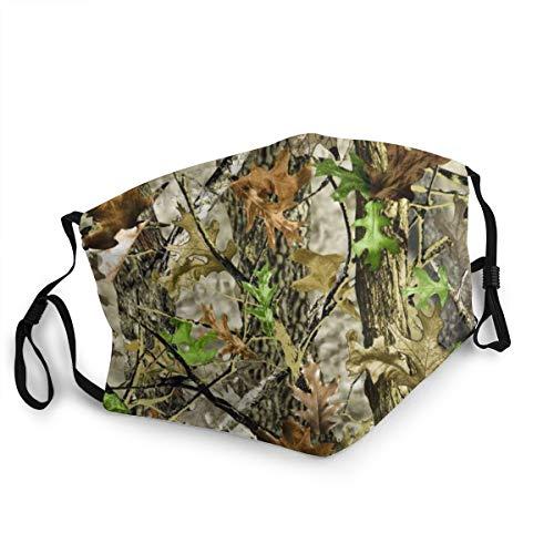 Mundschutz für Erwachsene gegen Staub, Camouflage, Blätter, Baum, verstellbar, für Damen und Herren