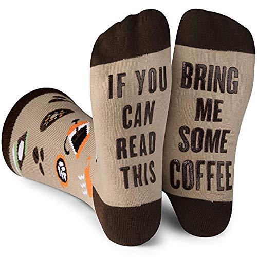 Beetop Wein Socken/Kaffee Socken, Lustige Socken Geschenk für Frauen zum Weihnachten, Geburtstagsgeschenk, Valentinstag für Freundin, If You Can Read This Bring Me Some Coffee