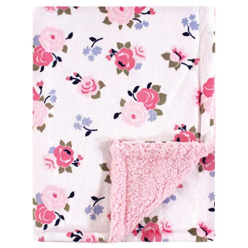 Luvable Friends Unisex Baby Plush Blanket with Sherpa Back, Pink Floral, One Size