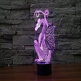 Yyhmkb Lamparas De Mesa Noche De Lampara Luz Frozen Led Lampara De Mesa Lámpara De Mesa De Decoración De Regalo De Luz Visual Led De Toque Colorido De Luz 3D De Dragón Cortado En Papel