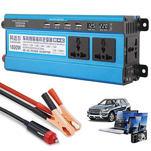 Inversor de corriente 500W 1200W 1600W 2200W, inversor de onda sinusoidal modificada DC 12V 24V 48V 60V a CA 220V 230V Convertidor de corriente con 4 puertos USB para automóvil, camping, viajes