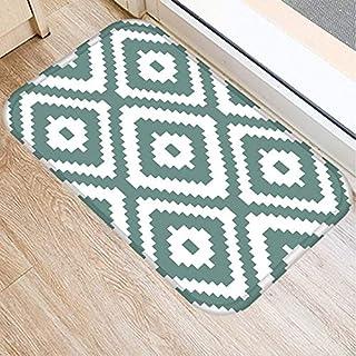 OPLJ Green Geometric Pattern Anti-Slip Suede Carpet Door Mat Doormat Outdoor Kitchen Living Room Floor Mat Rug A6 40x60cm