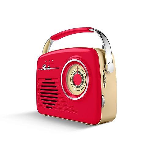 Radio Vintage AKAI R-100 con USB y SD, AUX IN (Rojo)