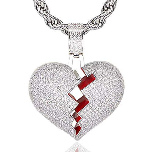 Hip Hop Necklace for Men Iced-Out 18K Gold Heart Broken Chain Bling Bubble Pendant Necklace Gifts Jewelry SENTERIA (silver)