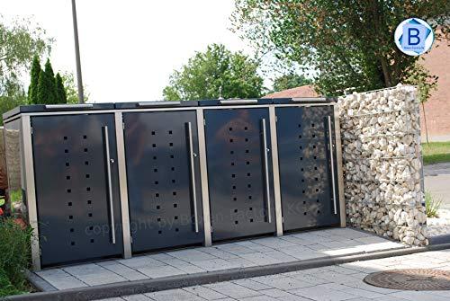 Boxen-Factory KG 4er Edelstahl Mülltonnenbox für 240 Liter Tonnen in Anthrazit RAL7016 mit Klappdach