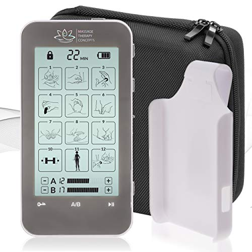 TENS Unit and EMS Combination Muscle Stimulator with 2 Channels, 12 Modes for Pain Management for Back, Neck, Arms, Legs, Abs, and Muscle Rehabilitation -With Belt Clip and Protective Hard Travel Case