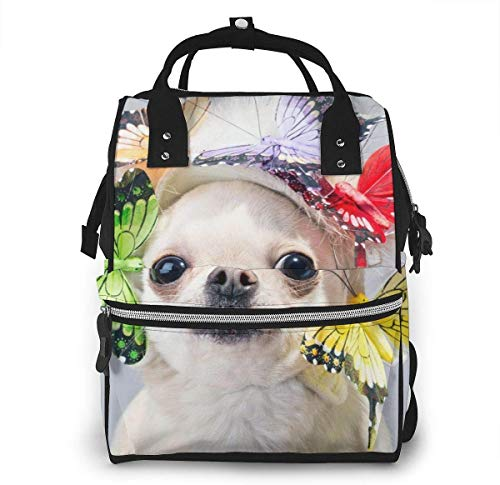UUwant Sac à Dos à Couches pour Maman Large Capacity Diaper Backpack Travel Manager Baby Care Replacement Bag Nappy Bags Mummy BackpackSurprised Chihuahua Dog in A Funny Cap