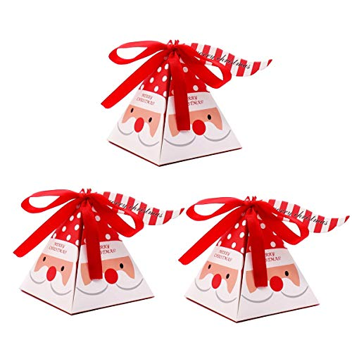 Lovehut 30 Pack Christmas Gift Boxes Decorative Candy Boxes, Cookies, Goodies Christmas Candy Bags Santa Claus Gift Box Present Packaging for Festival Holiday New Year