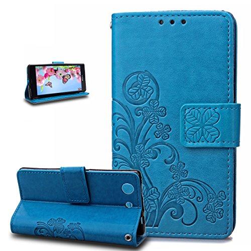 Kompatibel mit Sony Xperia Z3 Compact Hülle,Prägung Klee Blumen Muster PU Lederhülle Flip Hülle Cover Schale Ständer Wallet Hülle Handyhülle Schutzhülle für Sony Xperia Z3 Compact,Klee Blumen:Blau