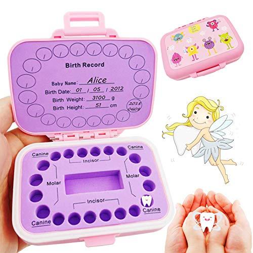Zahnbox Zahndose für Kinder | Baby Teeth Keepsake Box |Zahn Aufbewahrungshalter Organizer | Milchzahndose Milchzahnbox für Milchzähne als Geschenk Einschulung Geburt (pink)