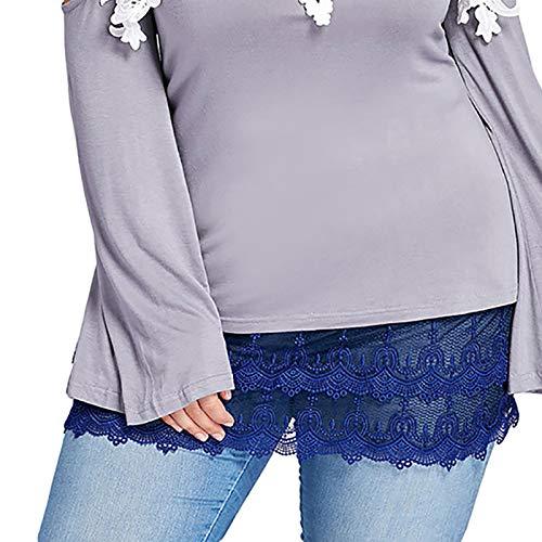SmallYin Dobladillo Superior Falso Multifuncional Ajustable en Capas para Mujer, Falda de Encaje Desmontable, Sudadera con Capucha, Minifalda Extendida, Falda Decorativa de SuéTer