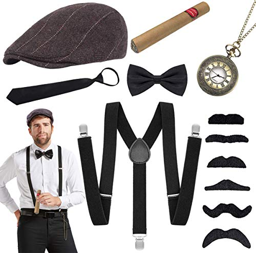 Hook 20er Jahre Herren Accessoires Mafia Gatsby Kostüm Set mit 1920 Herren Panamahut, Verstellbar Hosenträger, Halsschleife Fliege, Krawatte, Vintage Taschenuhr, Spielzeug Zigarre und Schnurrbart.