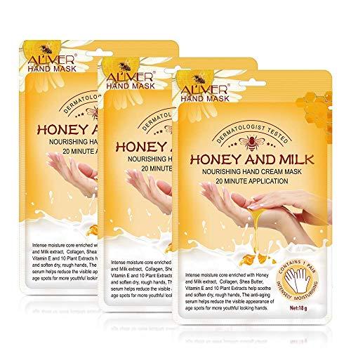 Handmaske, 3 Paar Honig und Milch Feuchtigkeitsspendende Handschuhe Pflegende, weiche Handpflege für trockene, rissige Hände Maske Hydrating Peeling Nourish Whitening Skin für Frauen und Männer