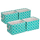 "Univivi Foldable Storage Bin [4-Pack] Rectangular Basket with Sturdy Cotton Handles Collapsible Organizer Bin for Shelf Closet Nursery Home Office Organizing (Green, 15""X10.5""X9.5"")"