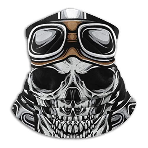 Vintage Skull Biker Neck Gaiter Face Mask Uv Fishing Bandana Scarf Covering For Dust & Sun Protection For Running & Hiking