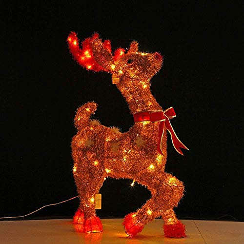 YWZQ Iron Frame Light Up Reindeer LED Light with Bow-Knot Gold Woolen Indoor Outdoor Lights Decorations,75cm