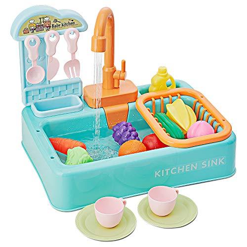 IWOWNFIT 20pcs Pretend Wash-up Kitchen Sink Toy Play Set, Toddler...