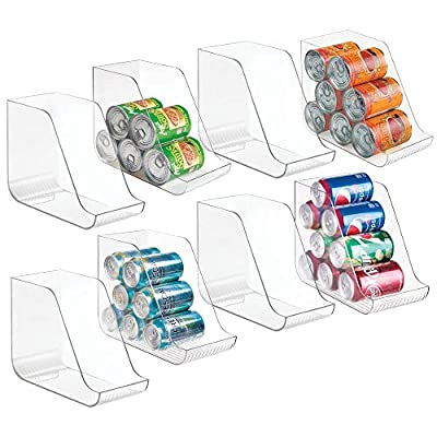 mDesign Large Plastic Standing Pop/Soda Can Dispenser Storage Organizer Bin for Kitchen Pantry, Countertops, Cabinets, Refrigerator - Compact Vertical Holder - 8 Pack - Clear by MetroDecor