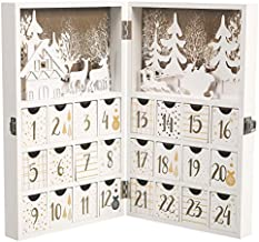 M MINGLE Wooden Advent Calendar, Christmas Countdown Calendar Decoration with 24 Drawers, Snow, House, Tree, Reindeer