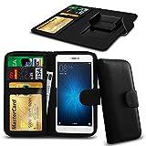 N4U Online® Clip Serie Kunstleder Brieftasche Hülle für Allview P8 Energy Mini - Schwarz