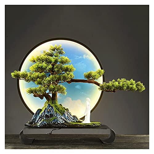 Bonsai Decorative 17 pulgadas Árbol de bonsáis artificiales, ornamentos de falso anillo de luz caliente LED, árbol falso para la pantalla de escritorio de decoración (con cepillo de limpieza) Bonsai T