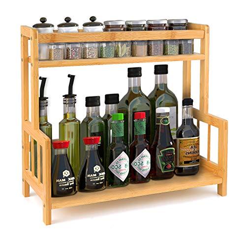 DOPGL Stojaki stojak na przyprawy, organizer do przechowywania na blat kuchenny, bambusowe pojemniki na butelki z przyprawami uchwyt z regulowaną półką, bambus (2-poziomowy 41,5 x 18 x 37 cm)