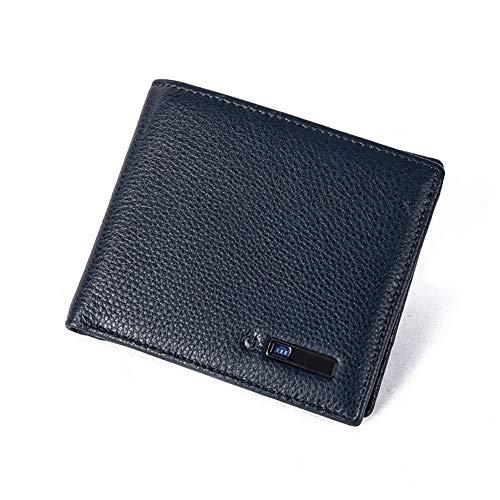 C- Billetera Antipérdida/Antirrobo, Billetera De Seguimiento Billetera De Cuero Genuino Rastreador Titular De La Tarjeta Smart Men - Gift for Men Wallet - Bluetooth Smart Wallet for Men,Azul