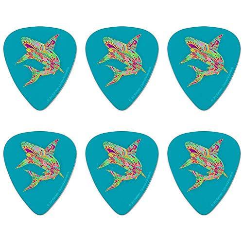 Mosaik Lily Shark Tropical Island Surf - Juego de 6 púas de guitarra (tamaño mediano)