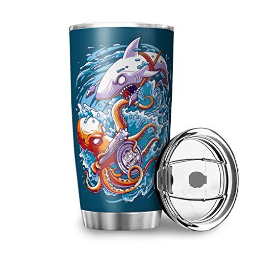 Yzanswer Shark VS Octopus - Taza de viaje de acero inoxidable para bebidas calientes y frías (600 ml), diseño impreso en 3D