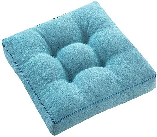 MGE Cojín de asiento para silla, cojín cuadrado de color sólido, algodón grueso, suave Tatami para oficina, coche, yoga, meditación, cojín de suelo (tamaño: 45 x 45 cm), color: azul2)
