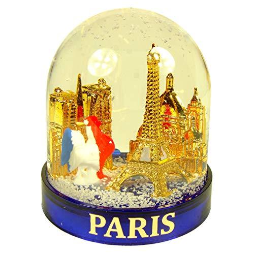 Souvenirs de France - Boule à Neige Luxe Paris 'Coq' en Coffret Cadeau - Bleu