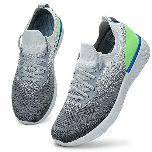 HKR Sneaker Damen Turnschuhe Leicht Sportschuhe Atmungsaktiv Laufschuhe Bequem Straßenlaufschuhe Grau Grün/42 EU